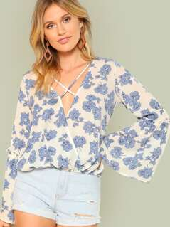 Floral Print Lattice Front Bell Sleeve Blouse