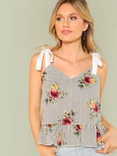Floral and Stripe Print Shoulder Tie Top