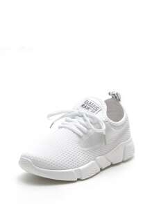 Mesh Design Lace Up Sneakers