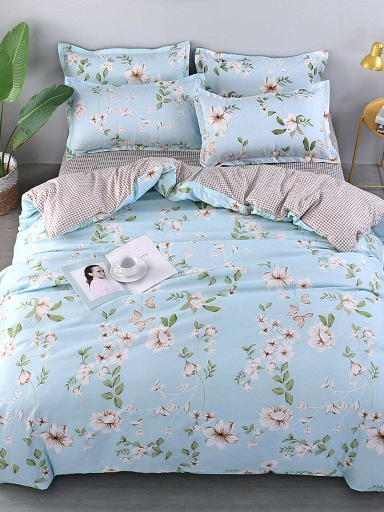 Flower & Grid Print Duvet Cover grid duvet cover set