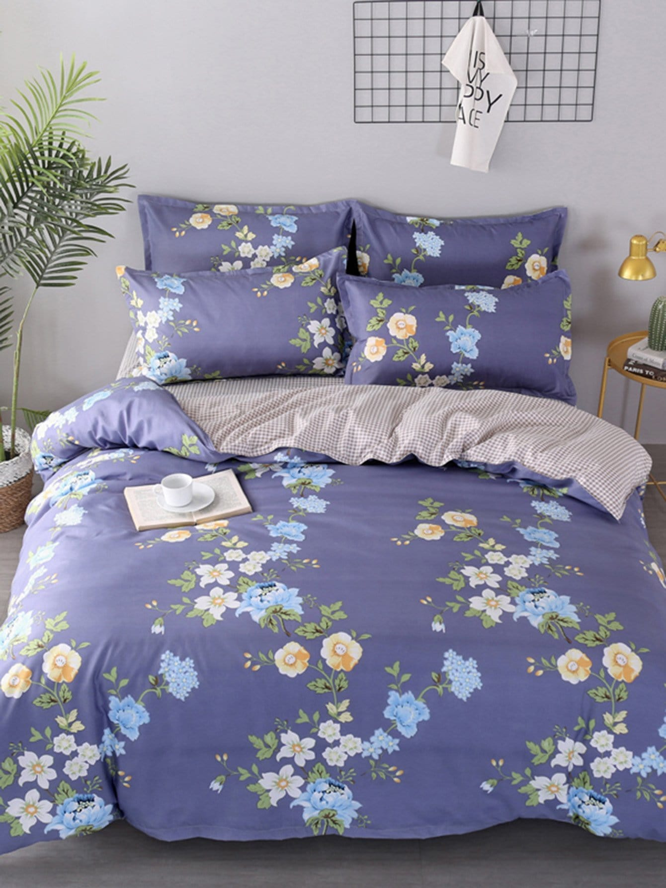 Grid & Flower Print Duvet Cover grid duvet cover set
