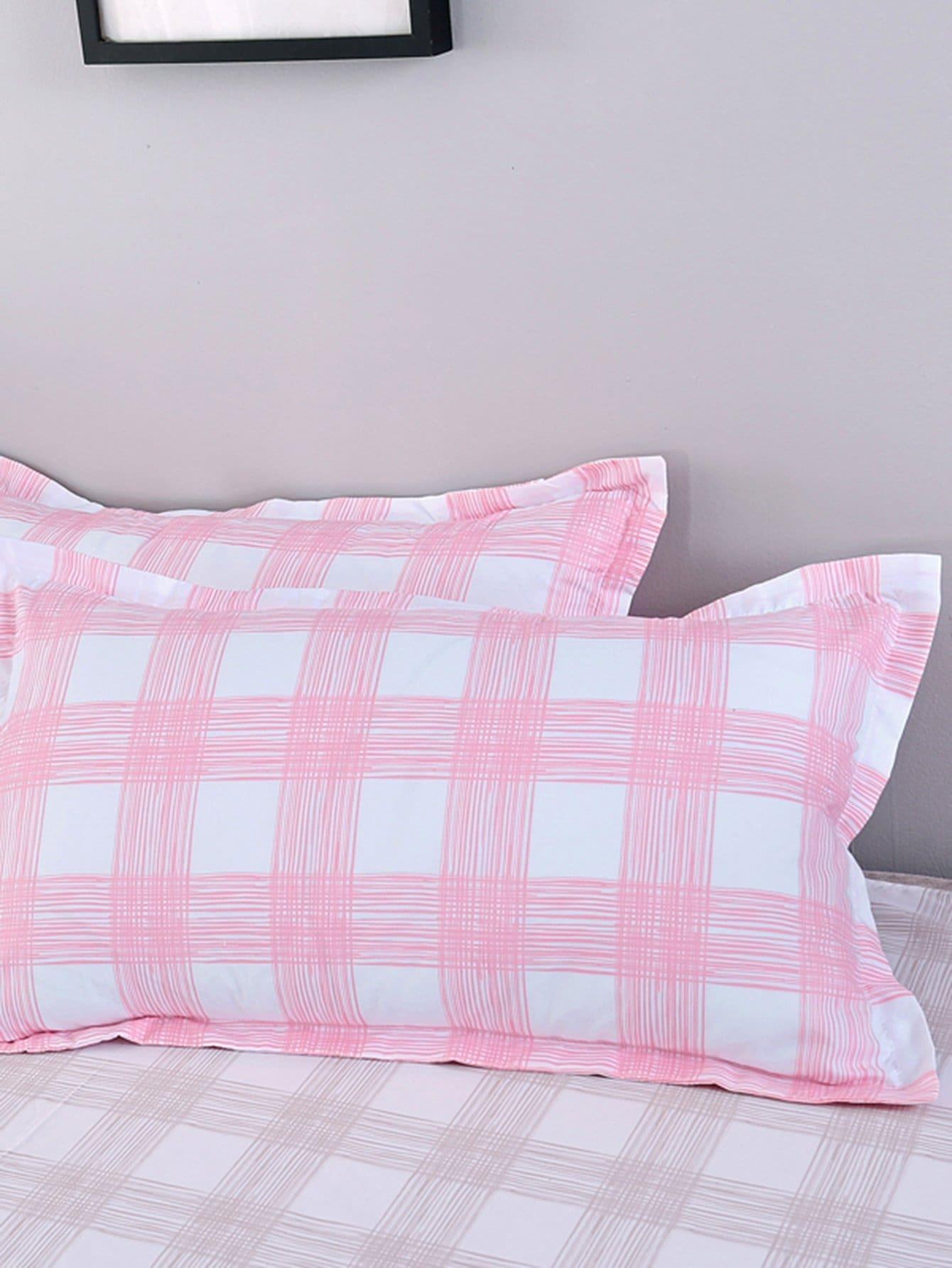 Gingham Print Pillowcase Cover pug print pillowcase cover