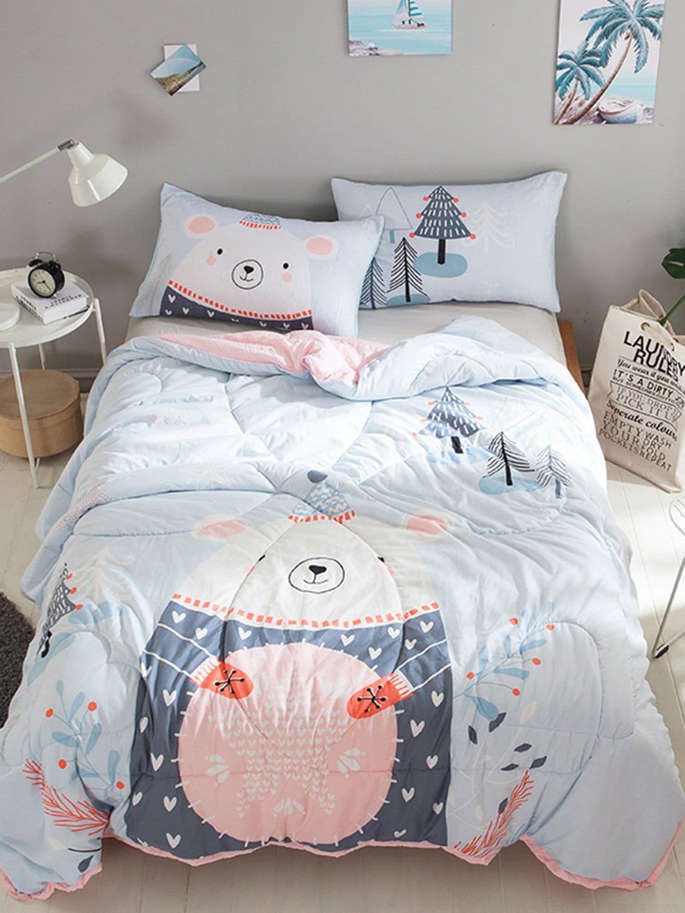 Cartoon Bear & Tree Print Solid Quilt plaid print solid quilt