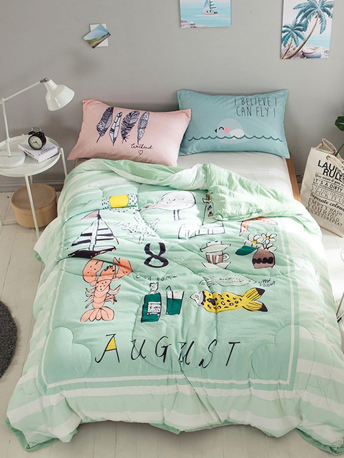 Cartoon & Letter Print Solid Quilt plaid print solid quilt