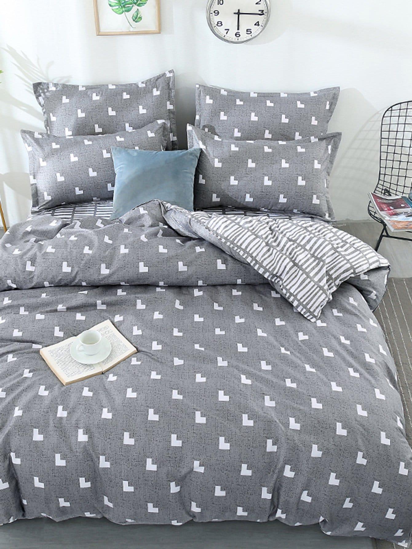 Купить Комлпект постельного белья с полосками и сердце, null, SheIn