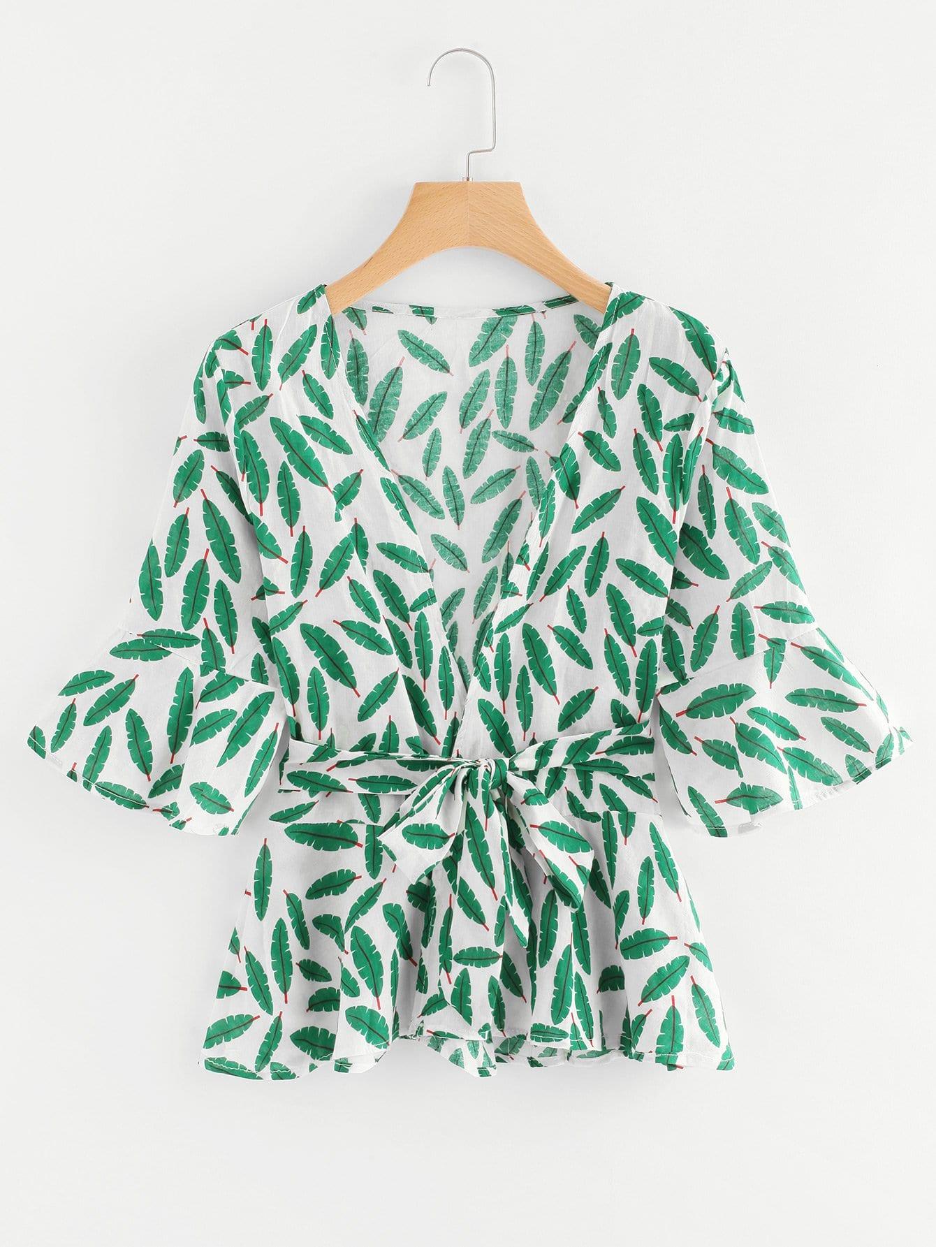 Купить Повседневный Пояс Зеленый Блузы+рубашки, null, SheIn