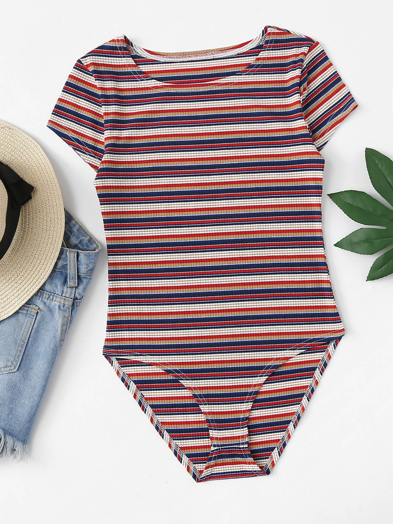 Round Neck Striped Ribbed Bodysuit