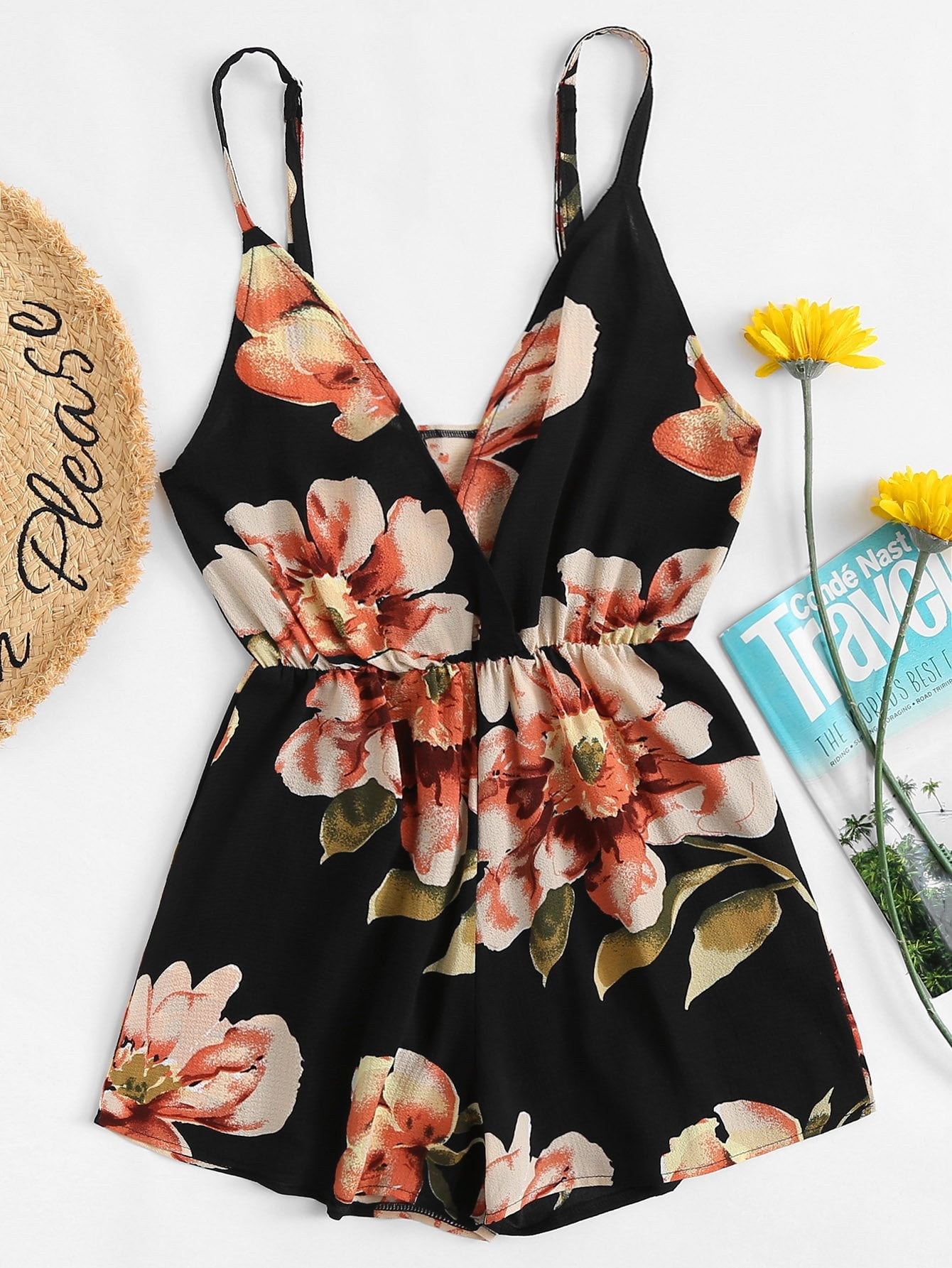 V Neckline Floral Wrap Cami Romper plug in electricity style corridor fire emergency light led safety export indicator sign vacuation passageway marker light
