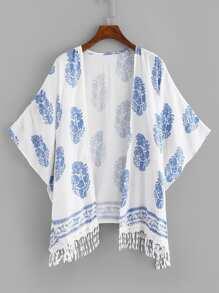 Fringe Trim Printed Kimono