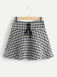 Eyelet Lace Up Checked Skirt