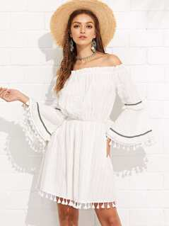 Frilled Detail Tassel Trim Bardot Dress