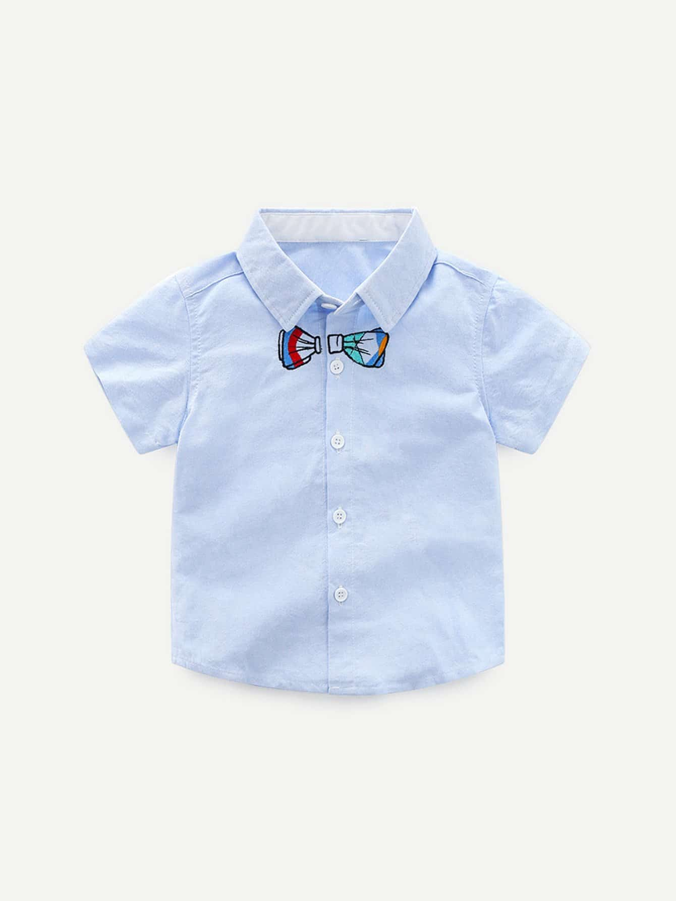 Boys Knot Embroidery Shirt embroidery applique knot back fitted