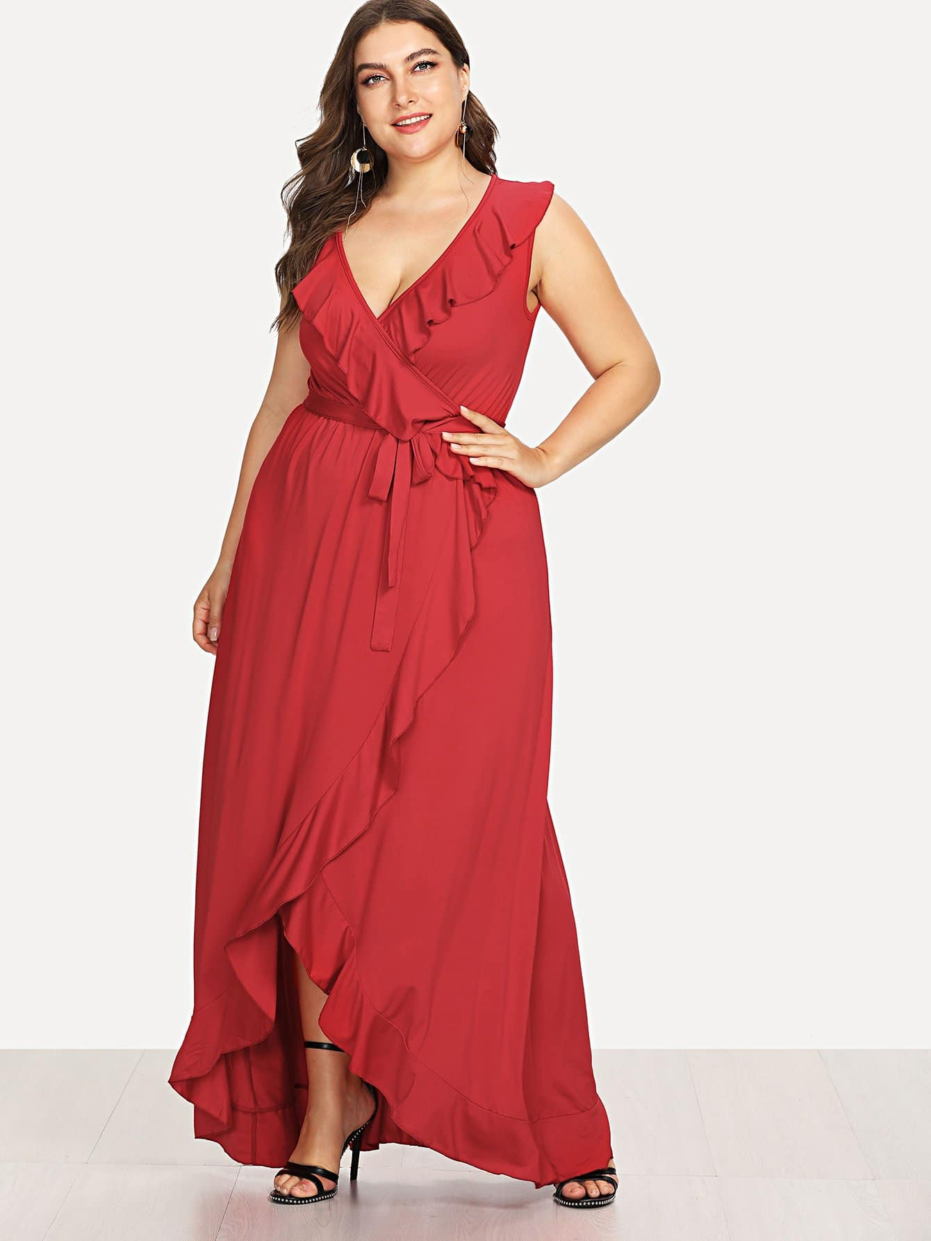 Plus Deep V Neck Ruffle-Split Hem Knot Dress wrap front tied v back ruffle hem dress