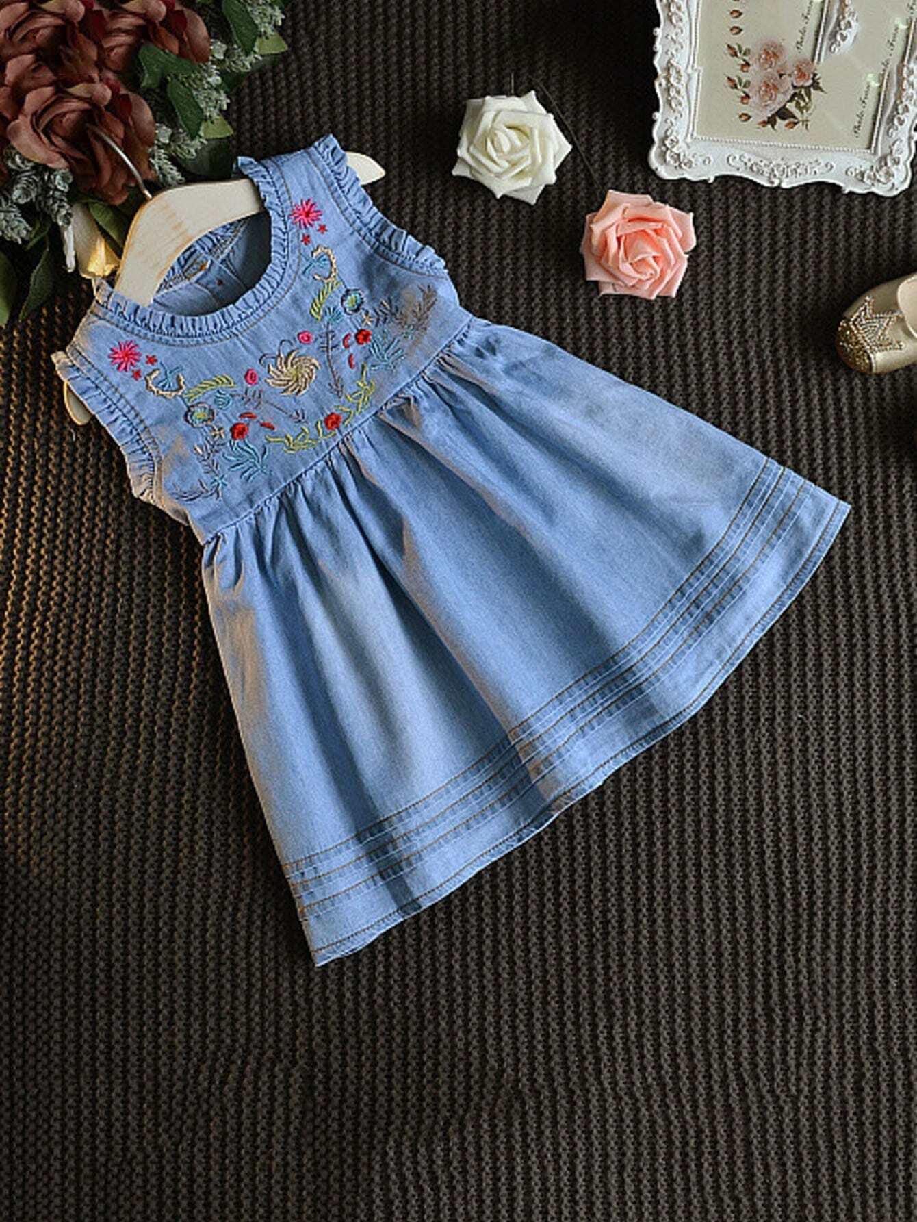 Girls Floral Embroidery Frill Trim Dress kids floral embroidery frill blouse