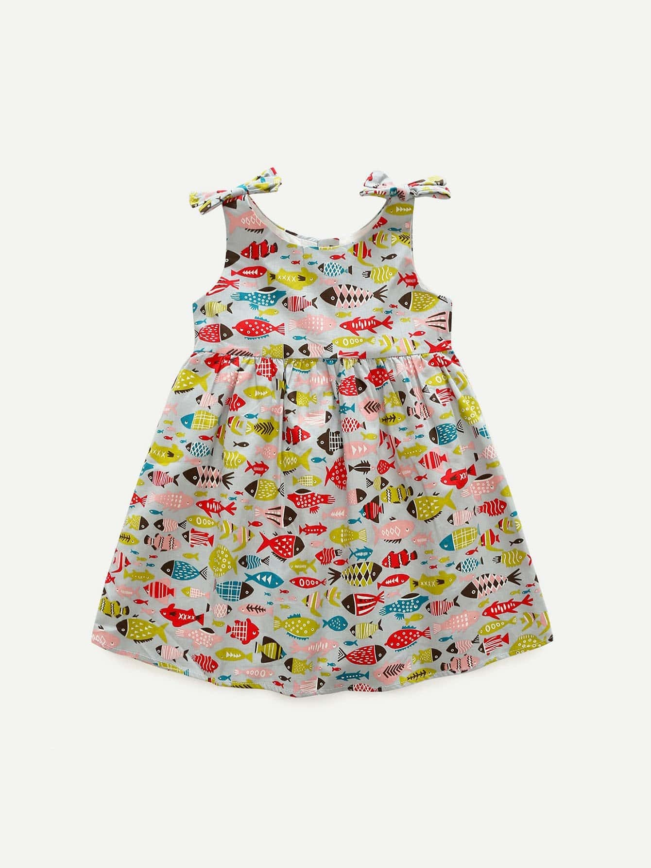 Girls Fish Print Knot Dress