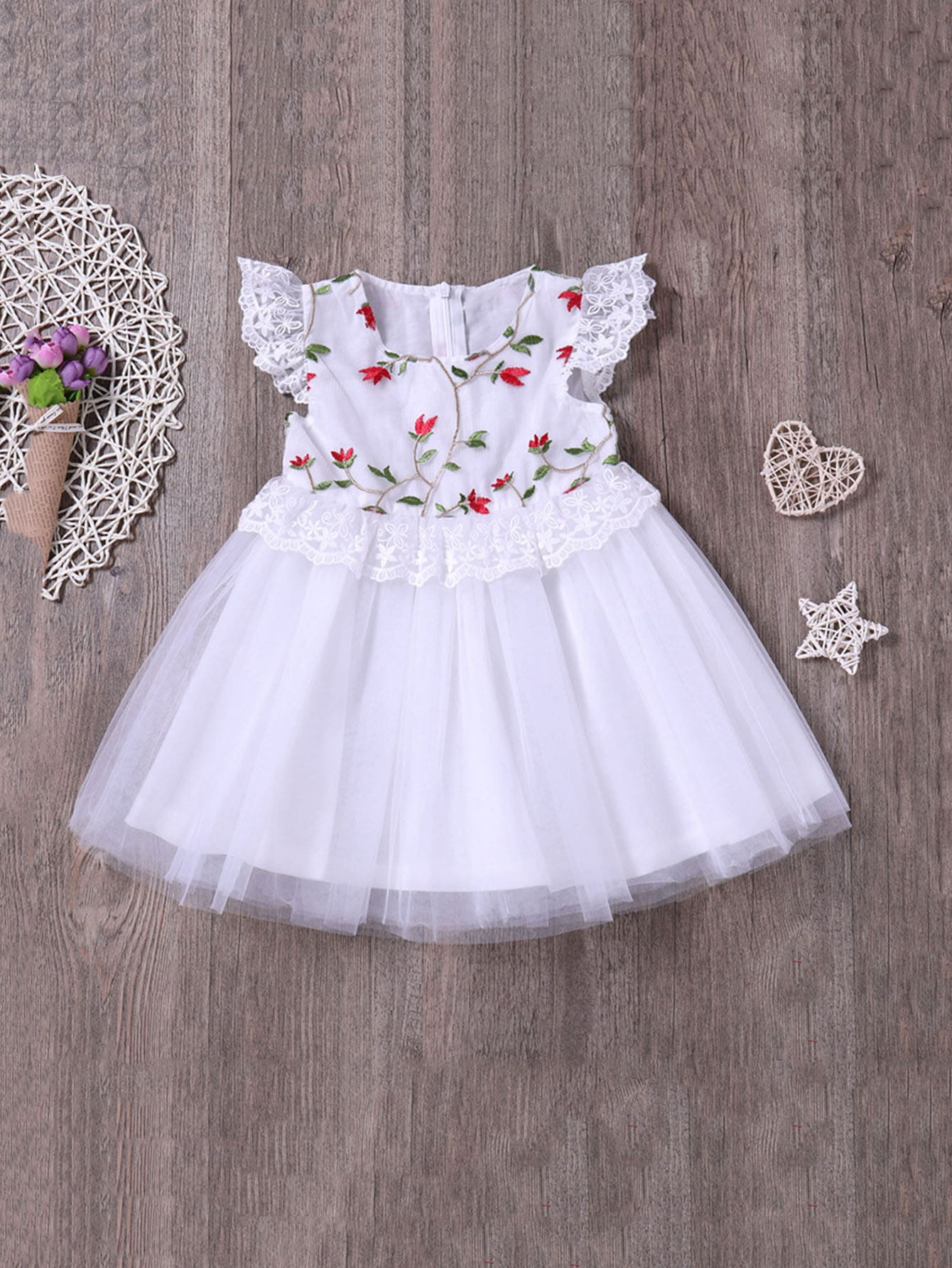 Girls Floral Embroidery Lace Panel Mesh Dress