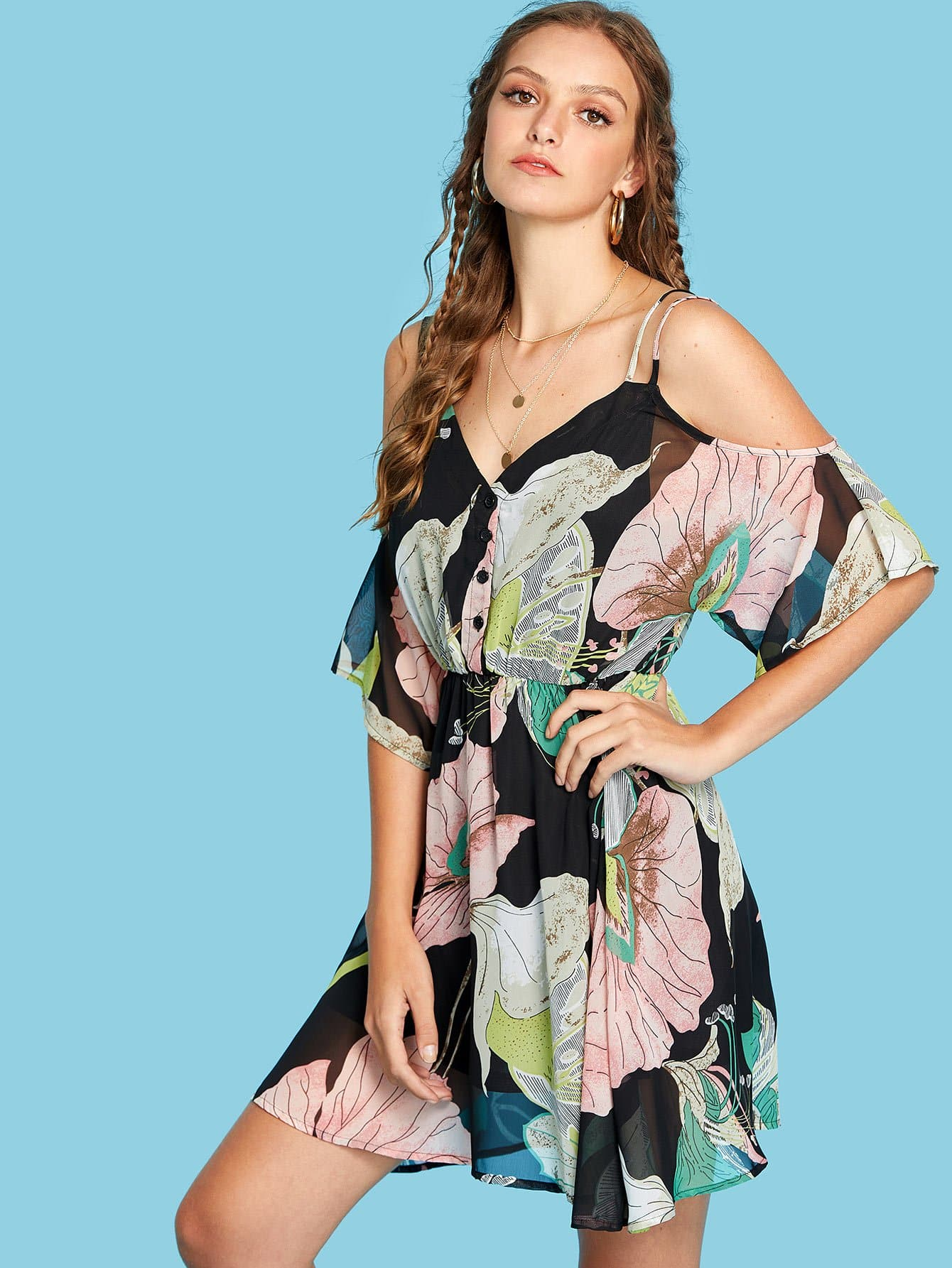 Floral Print Single Breasted Front Dress fruit print single breasted kimono