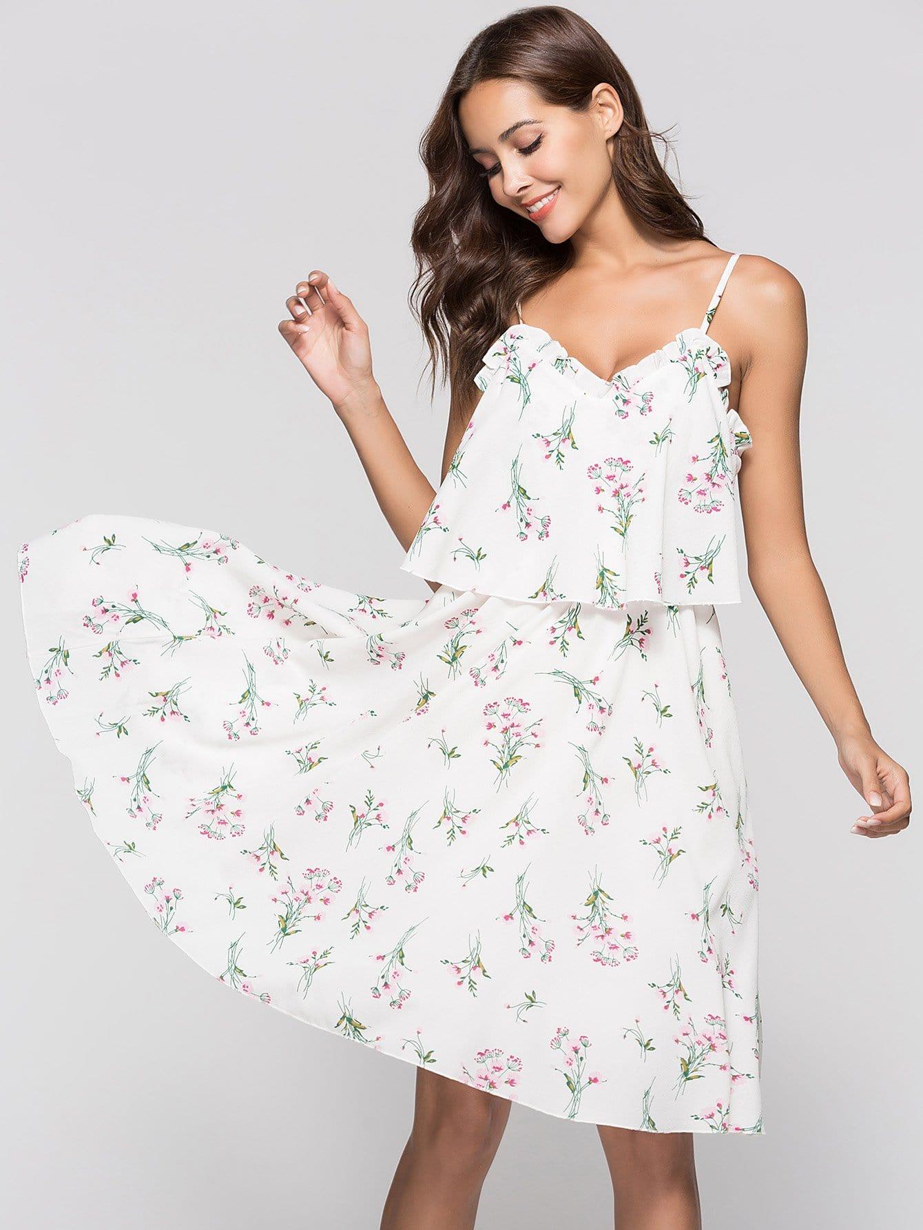 Floral Print Frill Trim Cami Dress girls floral embroidery frill trim dress
