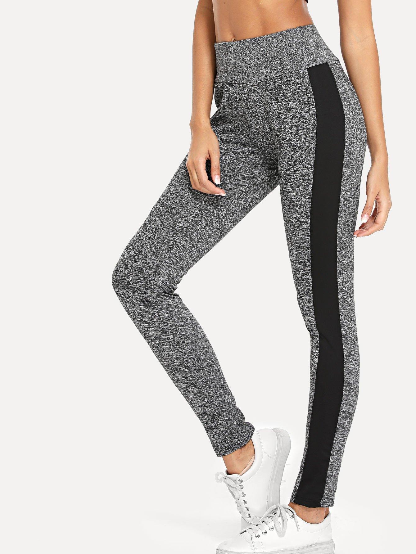 Striped Side Leggings asymmetric striped leggings