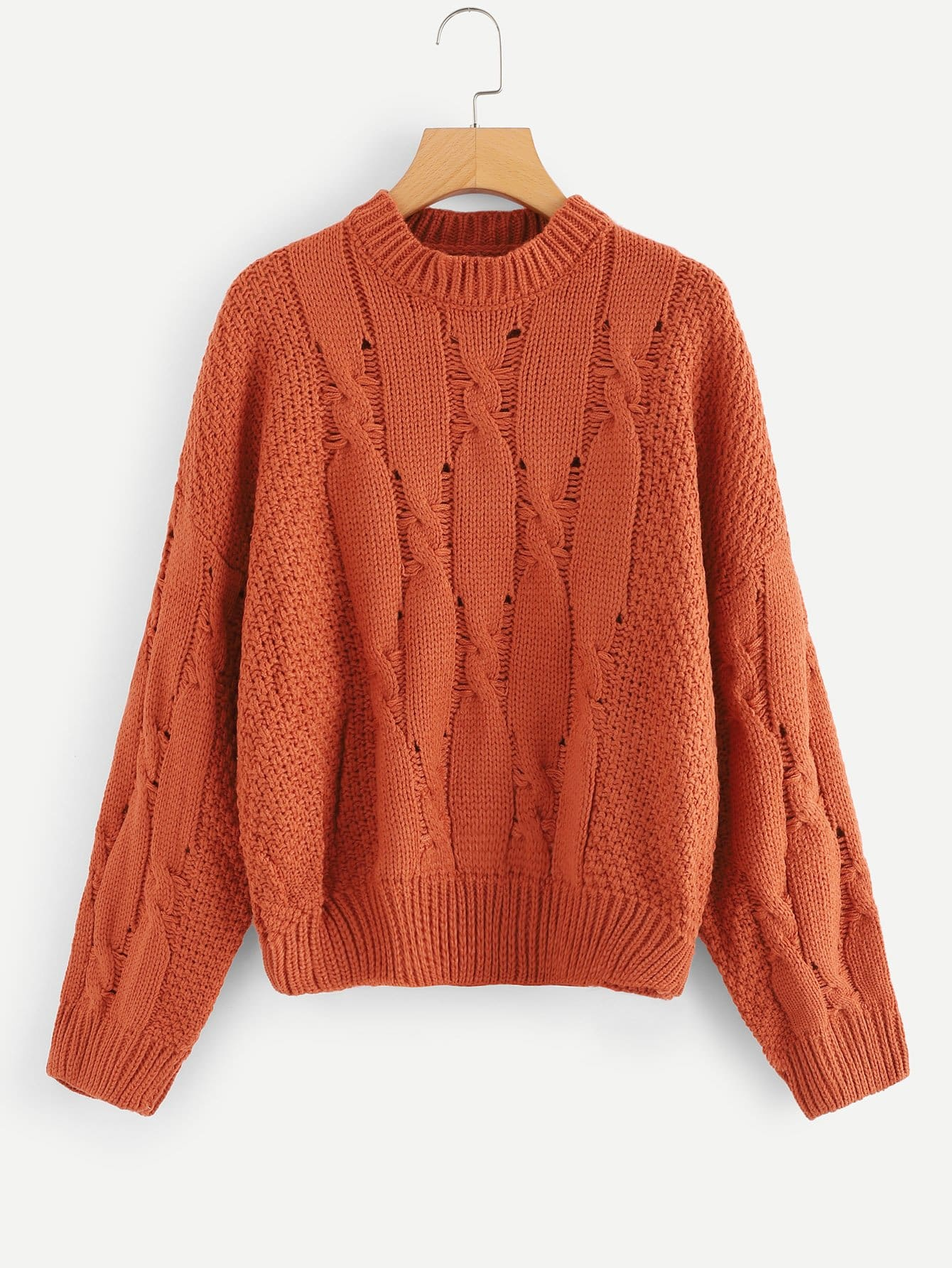 Hollow Out Cable Sweater hollow out textured sweater