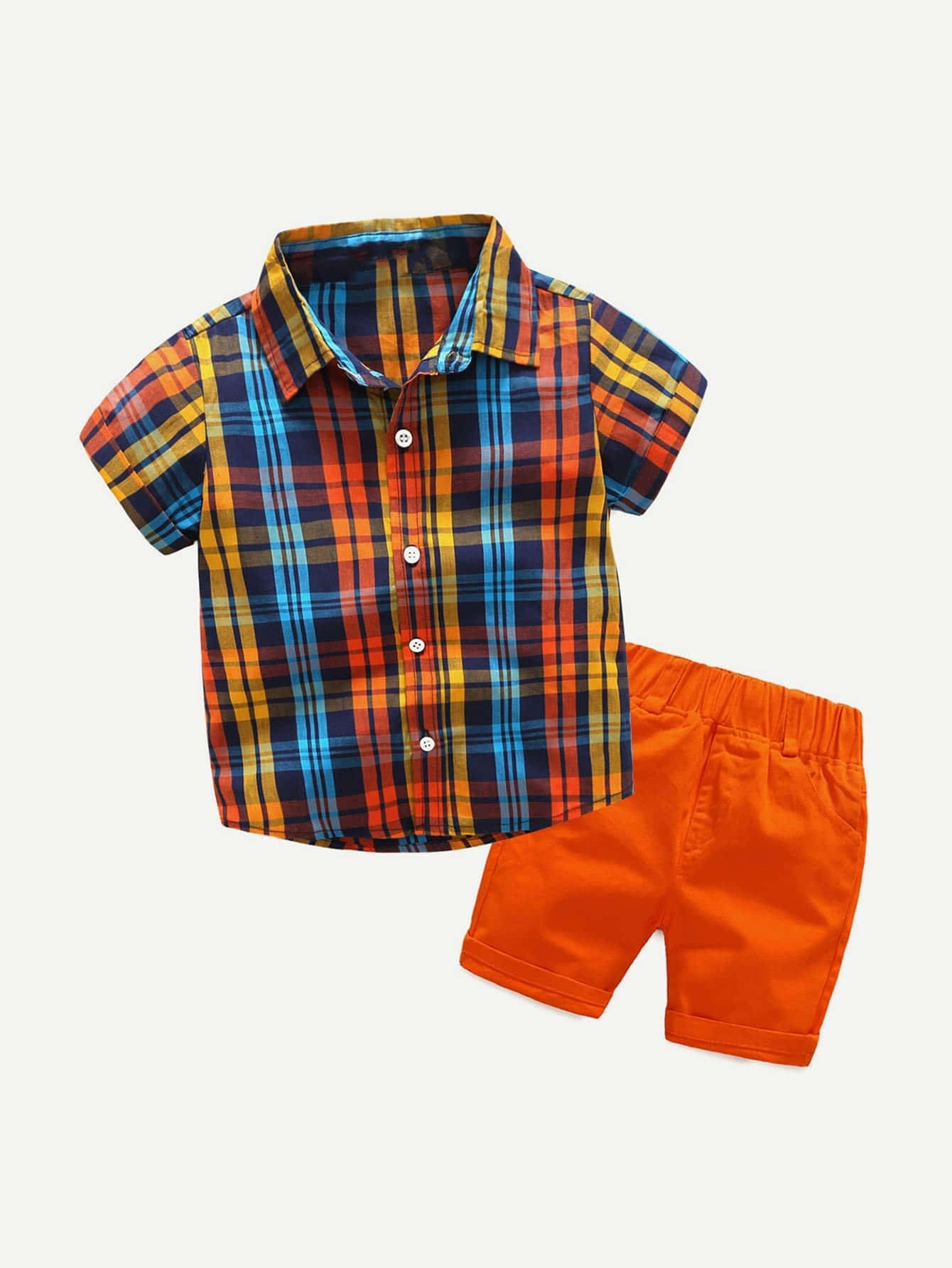 Boys Roll Up Sleeve Plaid Shirt With Shorts stoosh new salmon juniors roll tab sleeve plaid shirt s $34 dbfl