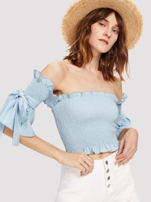 Frill Trim Tie Detail Shirred Blouse