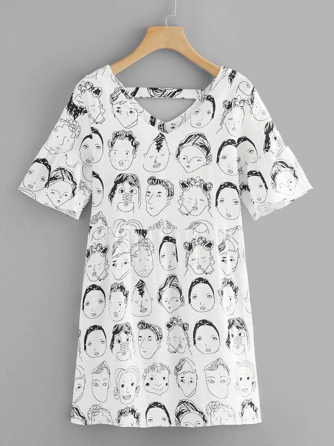 Купить Платье с принтом абстракция и v воротником, null, SheIn