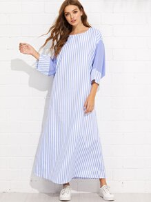 Striped Batwing Sleeve Dress