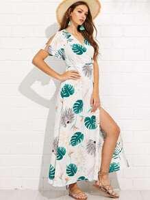Leaf Print Knot Waist Wrap Dress