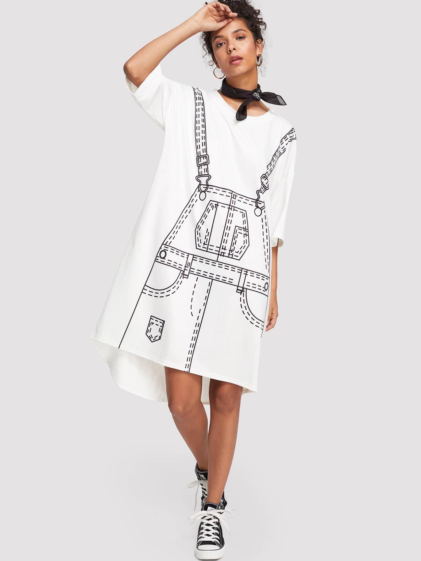 Купить Платье с графикой, Starl Lane, SheIn