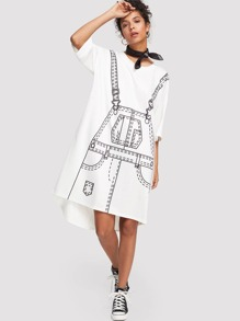 Graphic Print Dip Hem Dress