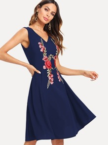 V Neckline Embroidered Applique Dress