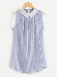 Contrast Crochet Lace Trim Striped Dress