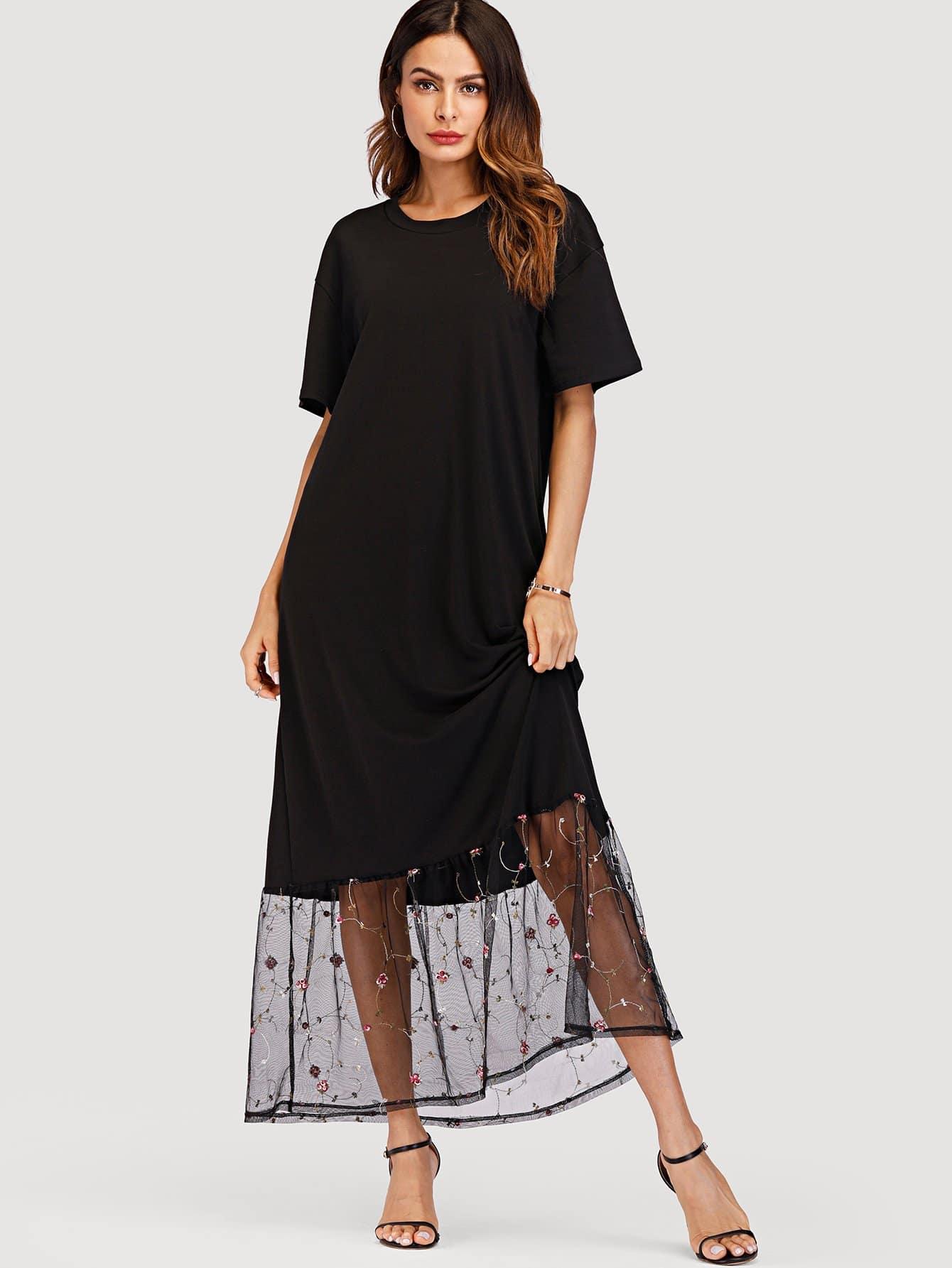 Embroidered Mesh Hem Panel Dress embroidered double layer asym hem sheath dress