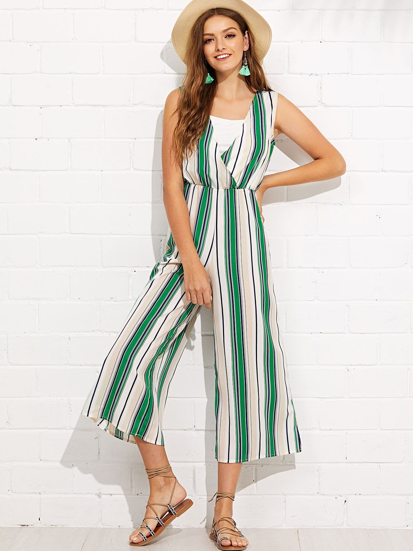 Striped Wide Leg Wrap Jumpsuit shirred panel wide leg striped jumpsuit