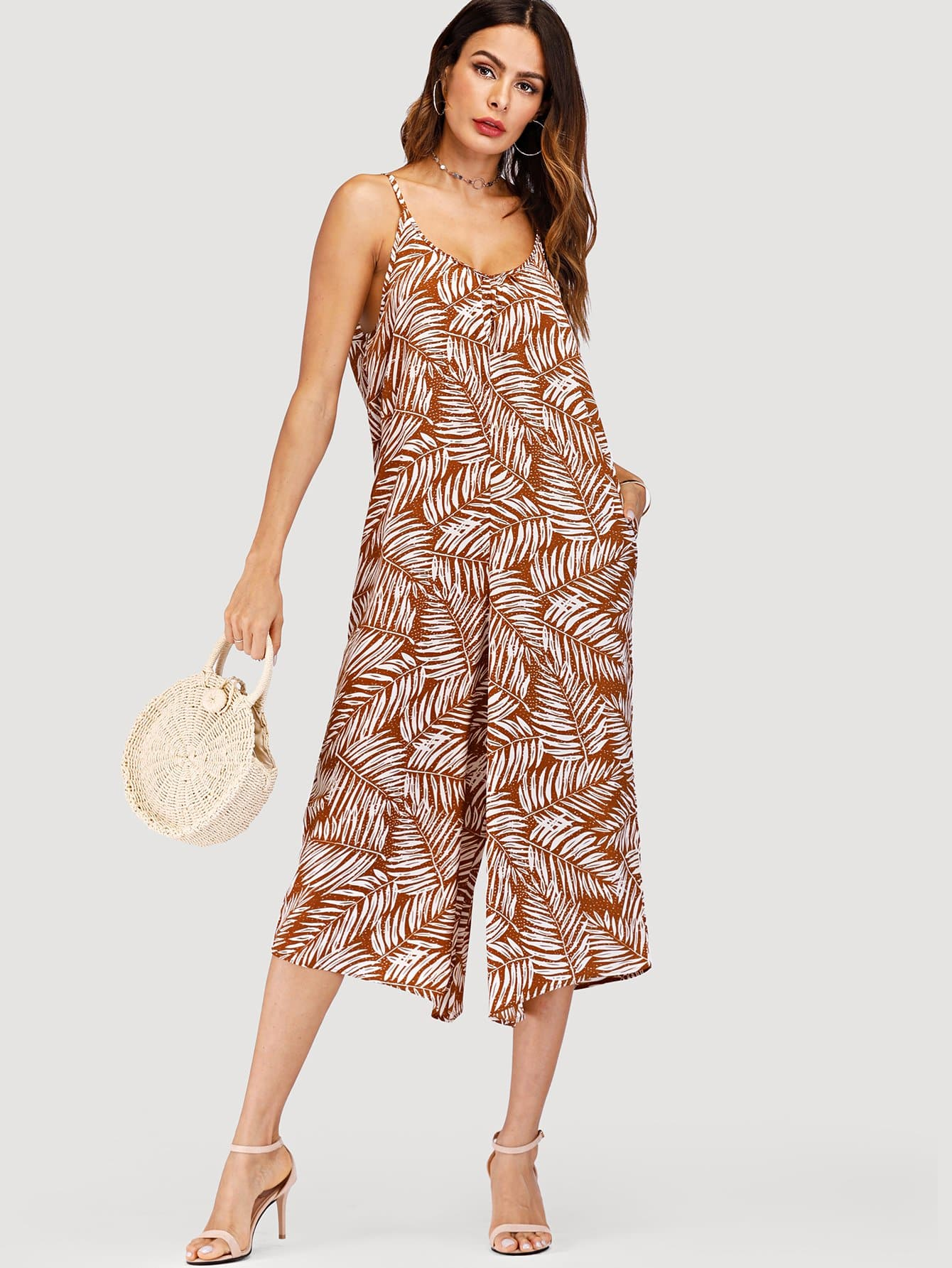 Leaf Print Wide Leg Cami Jumpsuit wide leg leaf print tube jumpsuit
