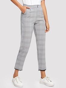 Contrast Lace Trim Plaid Pants