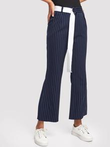 Stripe Belted Flare Leg Pants