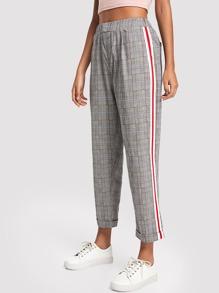 Striped Tape Side Plaid Pants