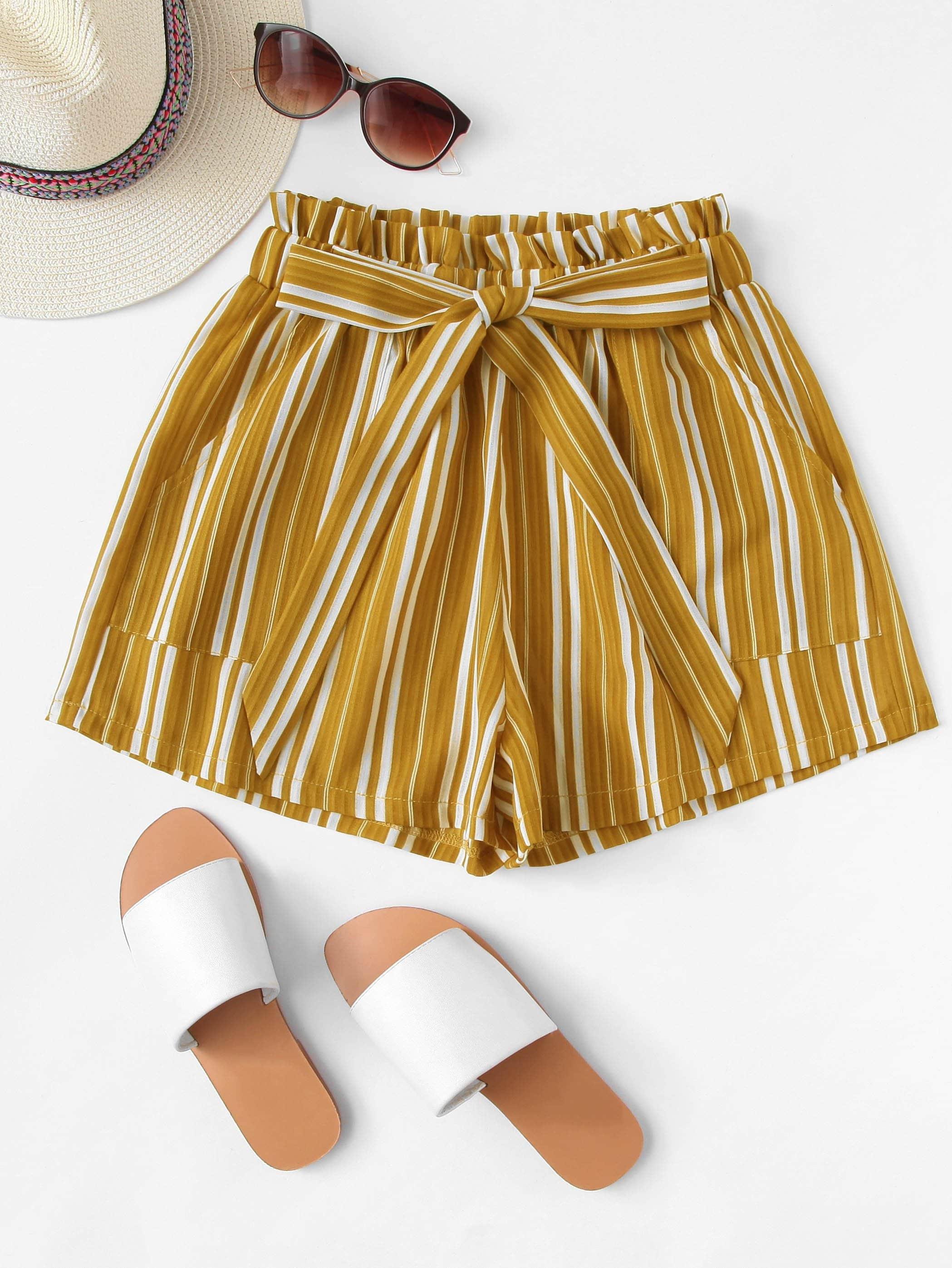 Frill Trim Tie Waist Striped Shorts