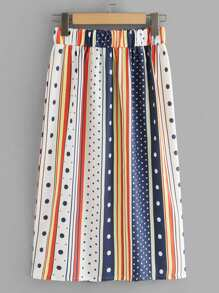 Contrast Striped Dot Print Skirt