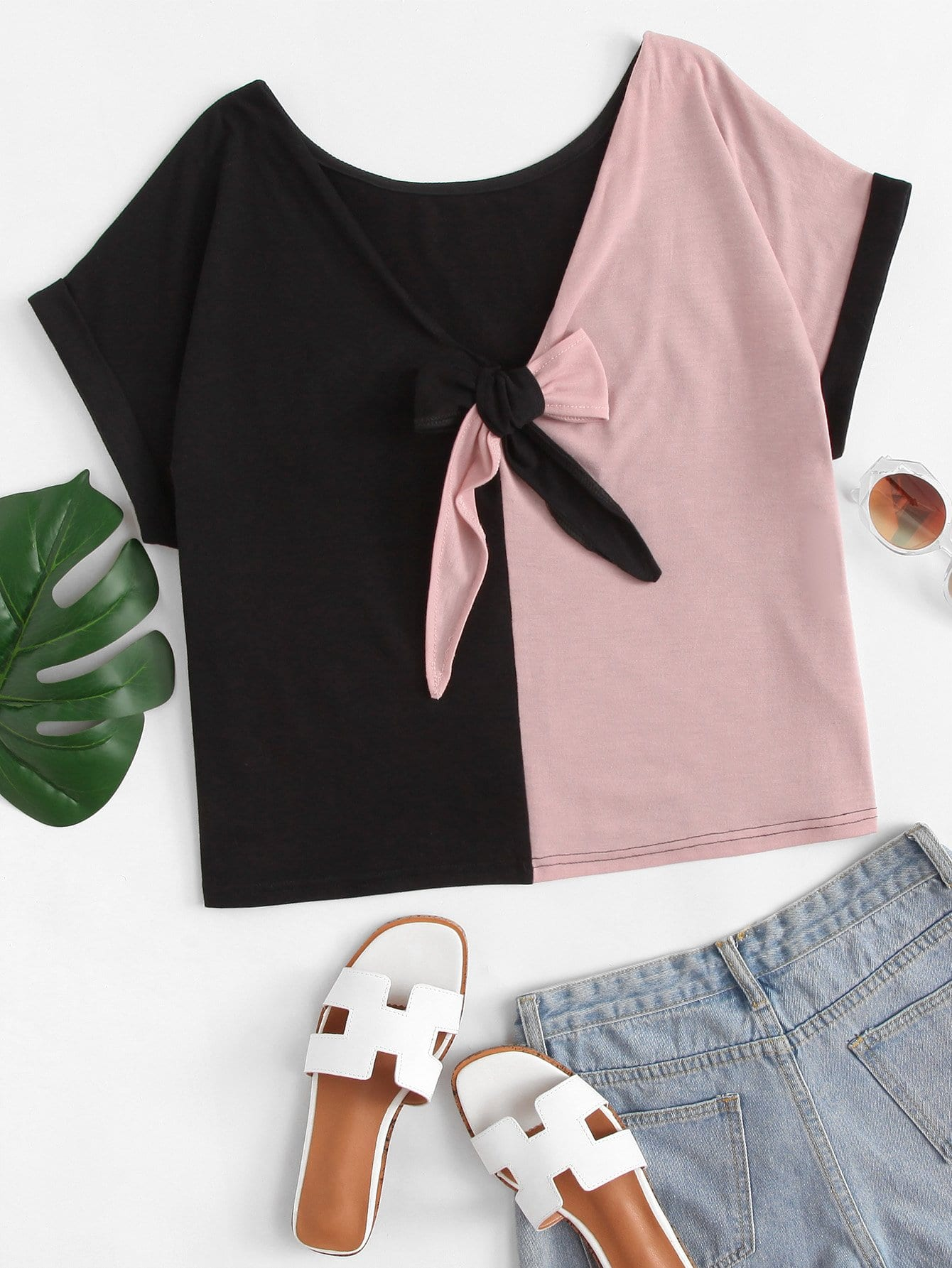 Knot Front Colorblock Tee knot front tee