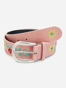 Embroidered Flower Belt