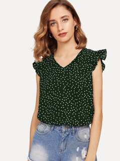 Ruffle Detail Tie Back Polka Dot Top