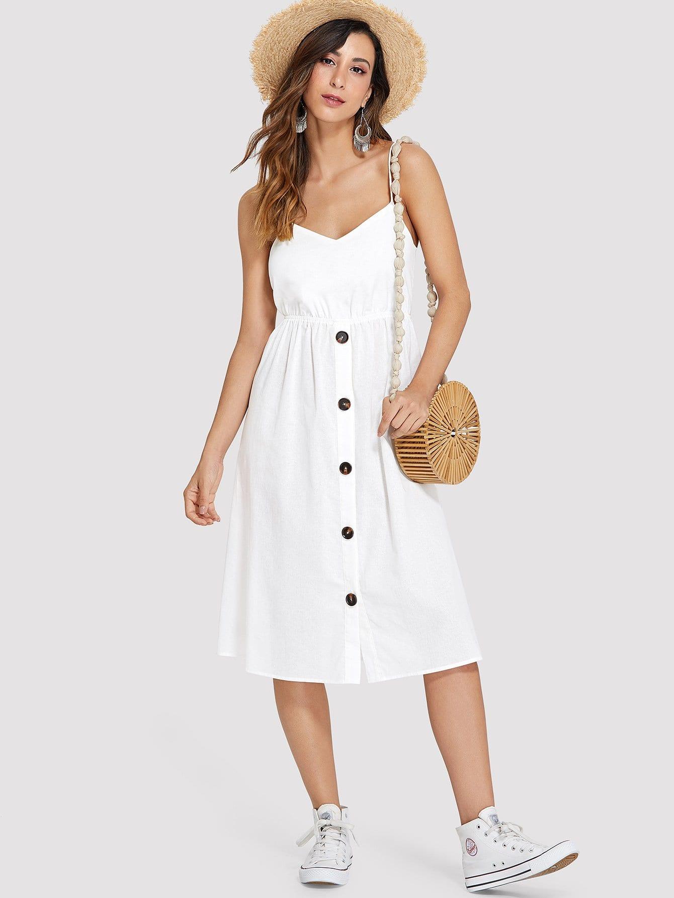 Платье с пуговицами и вырезами, Gabe, SheIn  - купить со скидкой