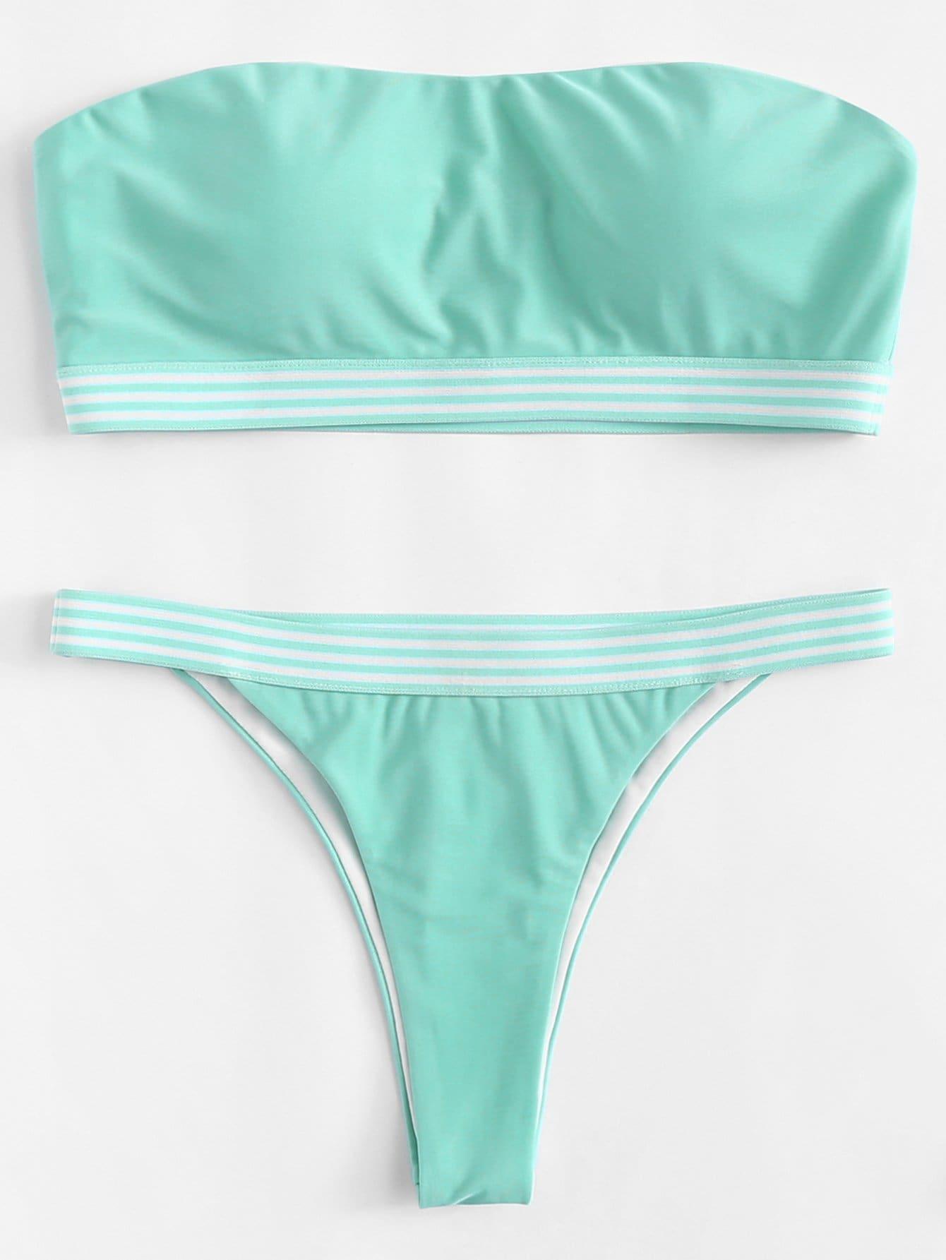 Striped Trim Bandeau Bikini Set frilled trim striped bandeau top