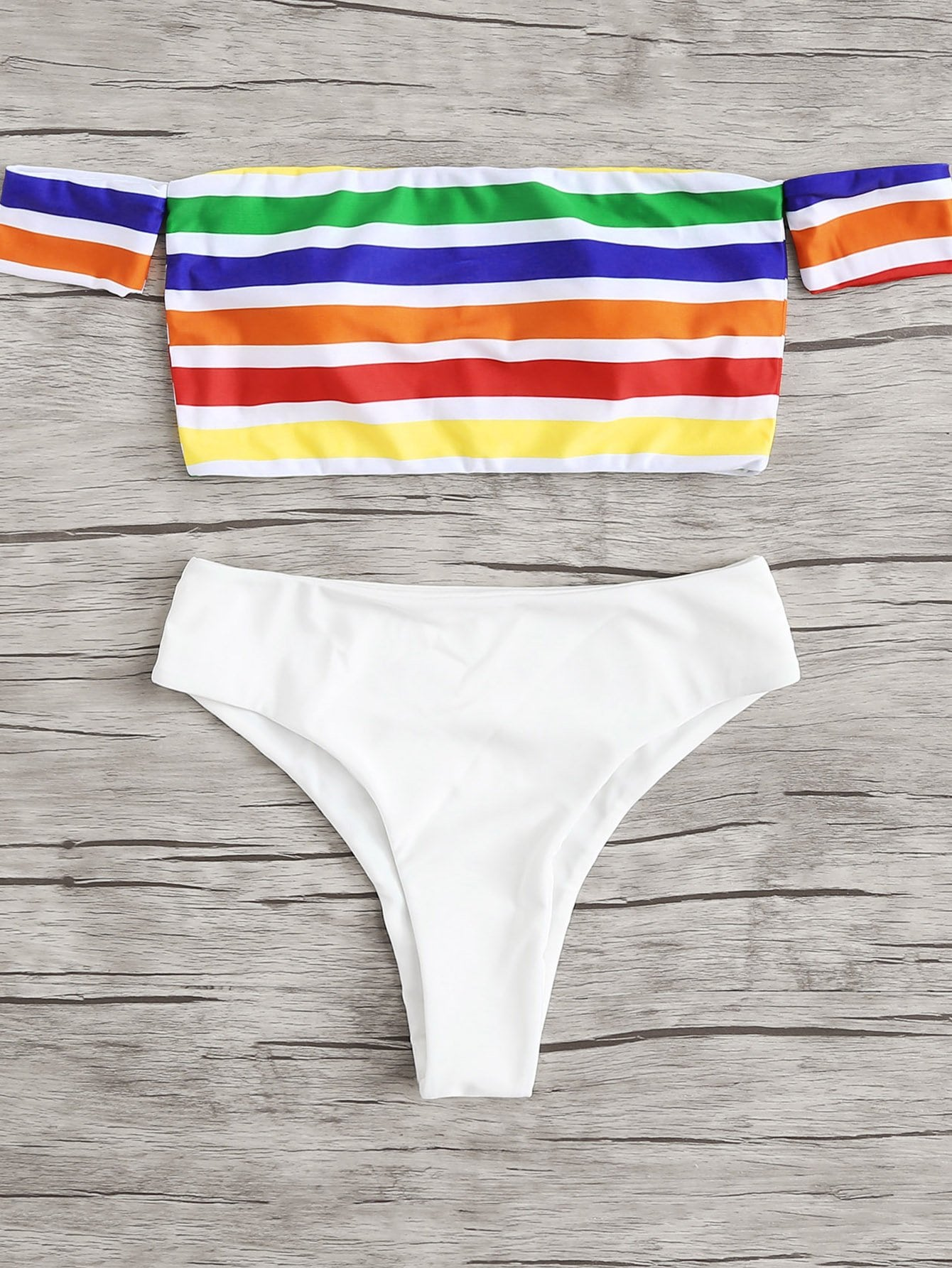 Rainbow Striped Bardot Bikini Set