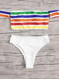 Rainbow Striped Bardot Bikini Set