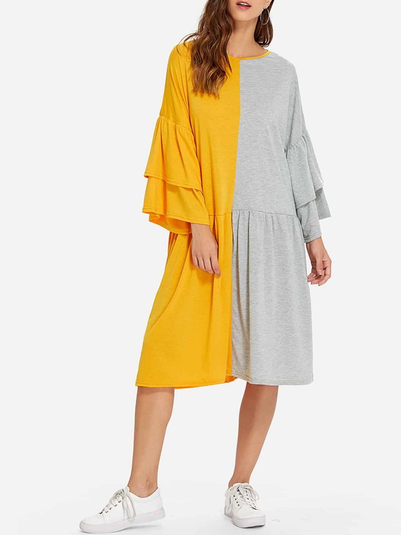 Купить Платье разные цвета с оборками на рукавах, Gabe, SheIn