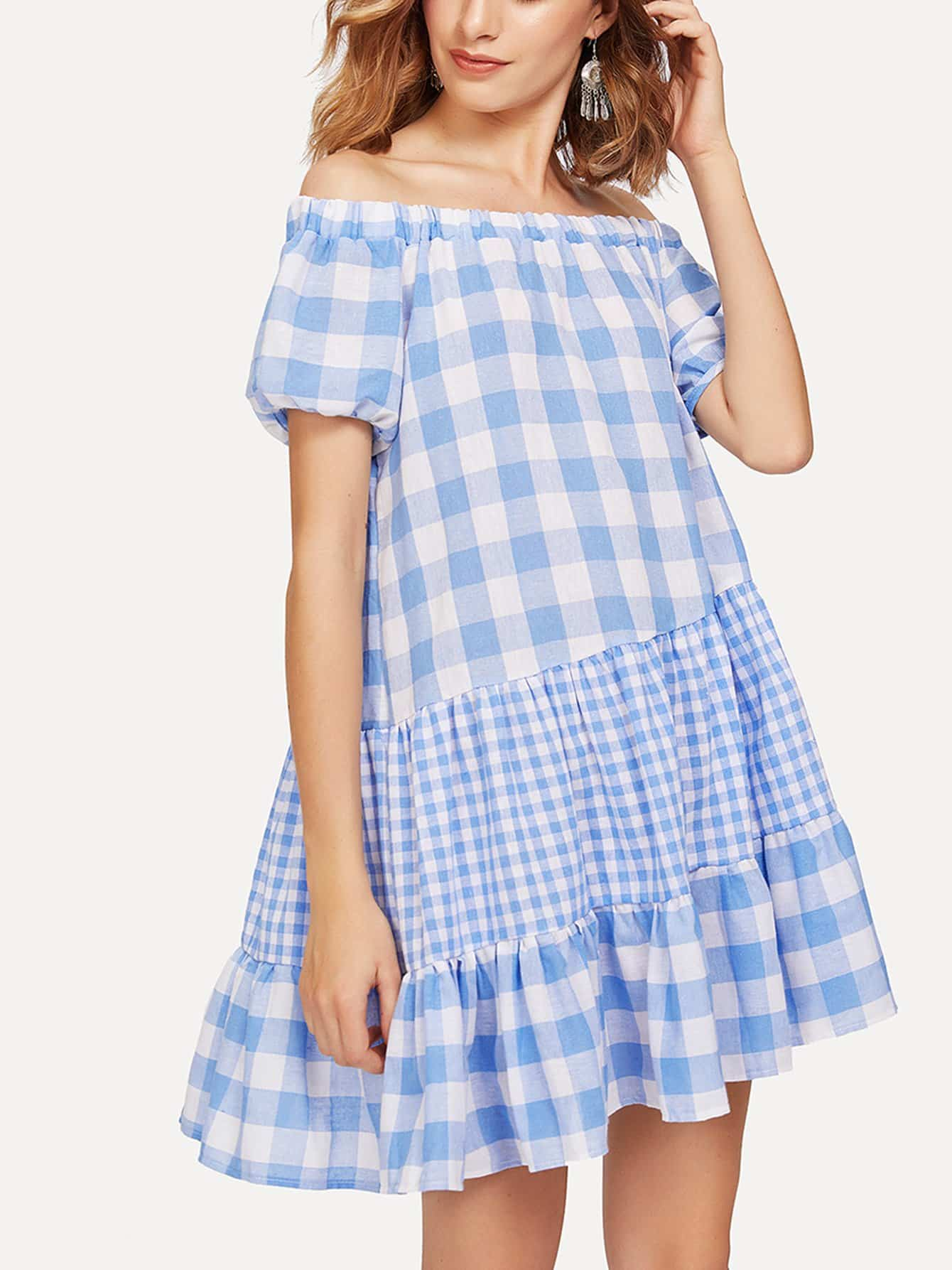 где купить Off Shoulder Ruffle Hem Gingham Dress дешево